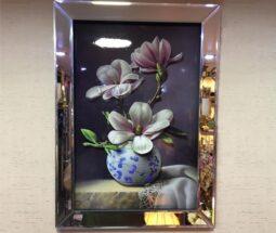 تابلو قاب آینهای طرح گلدان گلدار