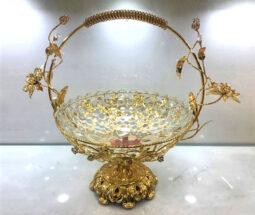 میوه خوری پایه دار گل برجسته طلائی شیک