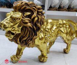 فروش عمده مجسمه دکوری شیر طلایی
