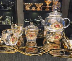 ست چایی خوری شیشهای لب طلا طرح گل رز