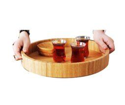 سینی چای خوری گرد لبه دار بامبو