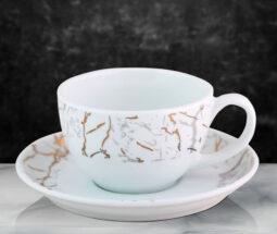فنجان نعلبکی سرامیک سفید طرح سنگی