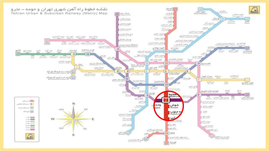 نقشه مترو پاساژ الغدیر بازار شوش تهران