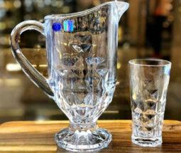 ست پارچ و لیوان شیشهای طرح لوزی