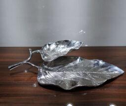 شیرینی خوری آلومینیومی دو طبقه طرح برگ