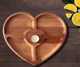اردو خوری چوبی ۴ خانه طرح قلب