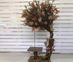درختچه پاییزی مصنوعی دکوری با صندلی