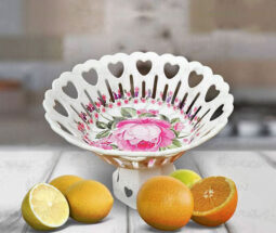 ظرف میوه خوری پایه دار ملامین گلدار