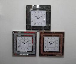ساعت دیواری مربعی آینه ای نگیندار