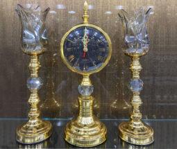 ست شمعدان طرح لاله و ساعت پایه دار