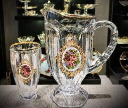 سرویس پارچ و لیوان شیشه ای طرح گل رز