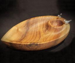 ظرف چیپس و ماست خوری چوبی طرح گنجشک