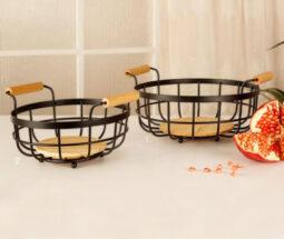 سبد گرد فلزی آشپزخانه با کفه و دسته چوبی