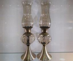 شمعدان لاله ۲ تایی شامپاینی پایه آنتیک