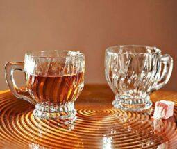 فنجان شیشه ای بلور کاوه مدل آلاله