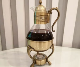 قوری قهوه جوش شیشه ای با پایه برنجی
