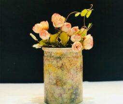 گلدان سرامیکی استوانه ای مدل رومیزی
