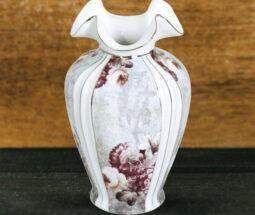 گلدان دکوری چینی گلدار لب طلایی