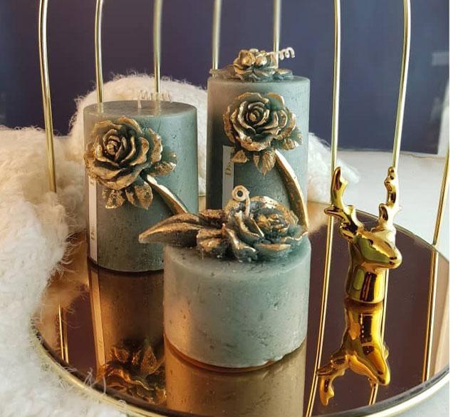 شمع استوانه ۳ تایی گل رز