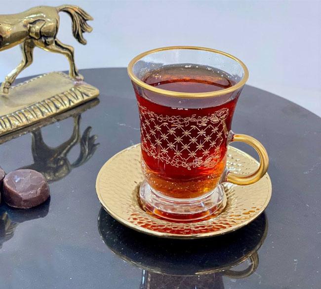 ست فنجان نعلبکی بلور لب طلا ترکیه ای