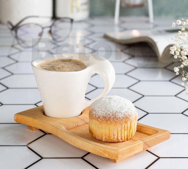 فنجان قهوه خوری چوب سرامیک ۲ تکه