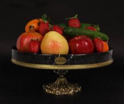 ظرف میوه خوری سنگی با پایه فلزی
