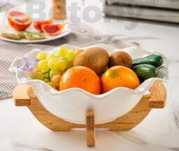کاسه میوه خوری لبه دالبری پایه چوبی