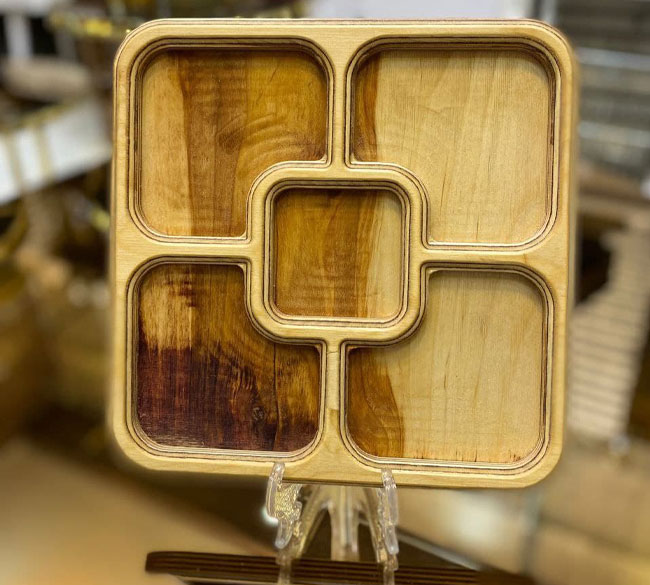 اردو خوری چوبی مربعی ۵ خانه