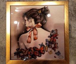 تابلو سه بعدی طرح دختر و پروانه