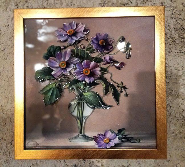 تابلو دیواری سه بعدی طرح گلدان گلدار