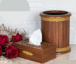ست جادستمال و سطل زباله چوبی