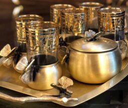 سرویس چای خوری برنجی طرح پروانه