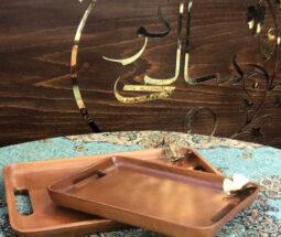 سینی پذیرایی مستطیل چوبی طرح پروانه