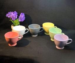 ماگ فنجانی سرامیکی پایه دار رنگی