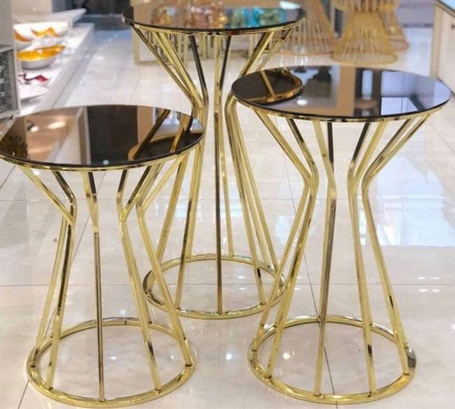 میز عسلی سه تایی آینه ای پایه فلزی