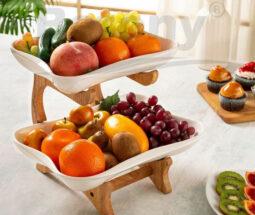 ظرف میوه خوری دو طبقه چینی پایه چوبی