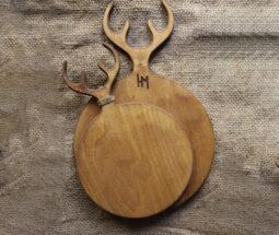 تخته سرو گرد چوبی طرح شاخ گوزن