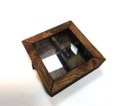 جعبه تی بگ چوبی چهار خانه مربعی