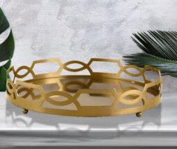 سینی گرد کف آینه ای رومیزی طرح دیاموند