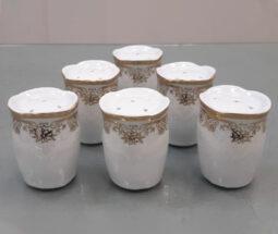 نمکدان سفید لب طلایی مجلسی