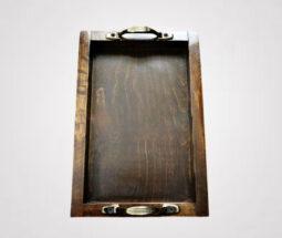 سینی پذیرایی چوبی مستطیلی دسته برنز