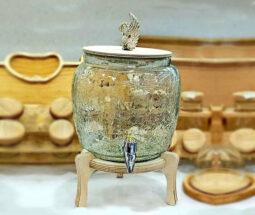 کلمن شربت شیشه ترک پایه چوبی طرح قو