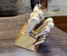 سرویس چاقو آشپزخانه ۱۵ پارچه پایه چوبی