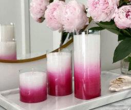 شمع استوانه ای شیاردار رنگی ۳ تایی