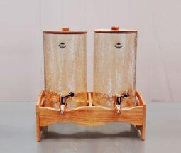 کلمن دوقلو شیشه ترک پایه چوبی