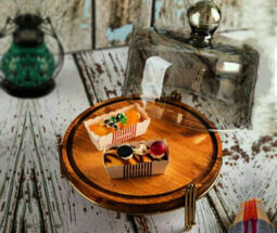 کیک خوری چوبی پایه دار درب شامپاینی