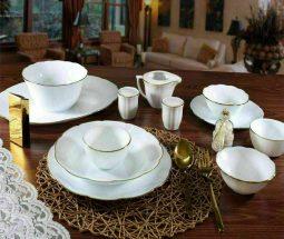 سرویس غذا خوری سفید لب طلا نیلوفری